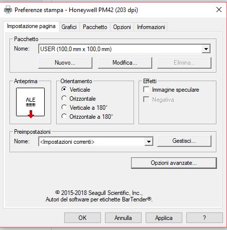 driver PM42 impostazione dimensione etichetta
