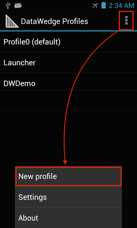 zebtra datawedge nuovo profilo