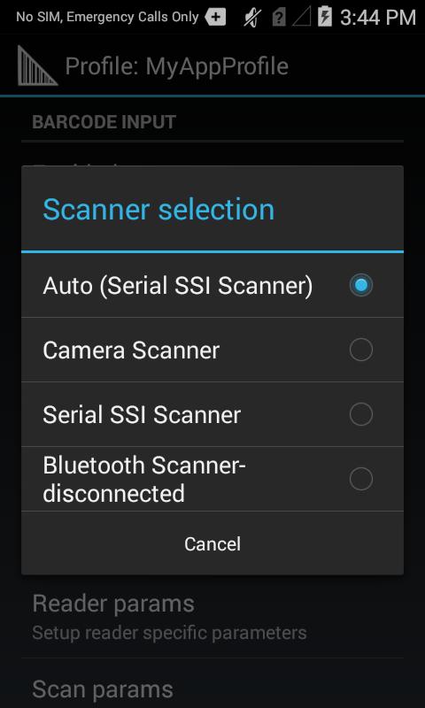 datawedge selezione dello scanner