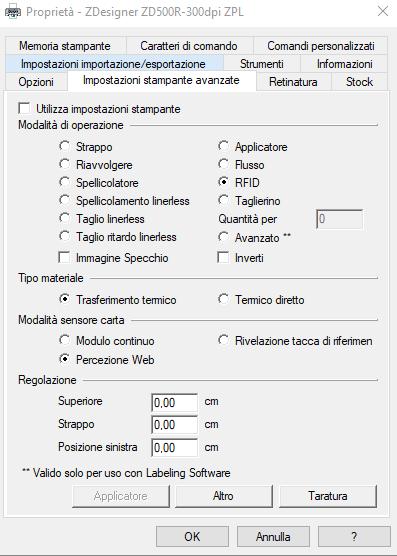 driver ZD500R RFID impostazioni avanzate
