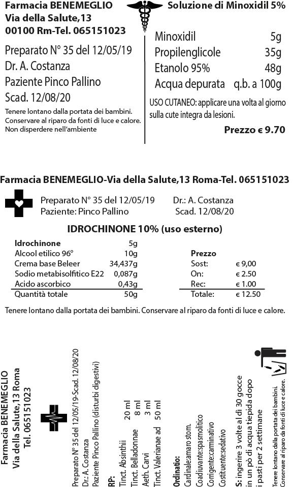 etichetta a trasferimento termico per preparazione galenica