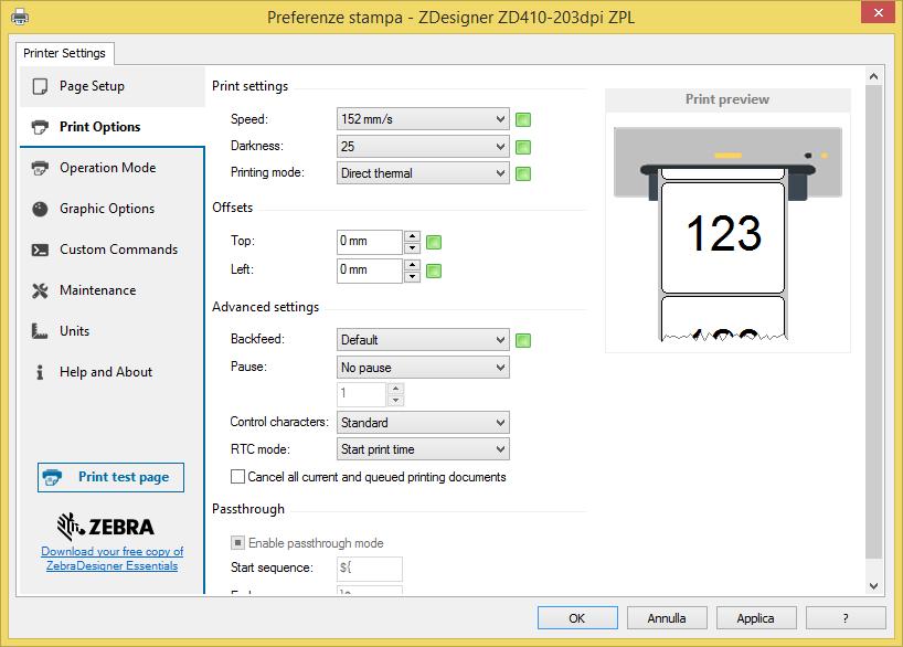 DRIVER ZD410 PRINT OPTIONS