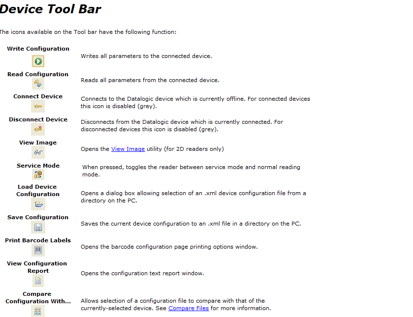barra degli strumenti software Datalogic Aladdin