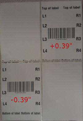 posizione superiore delle etichette nelle stampanti Zebra