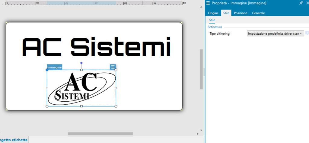impostazioni grafiche per immagine con software ZebraDesigner