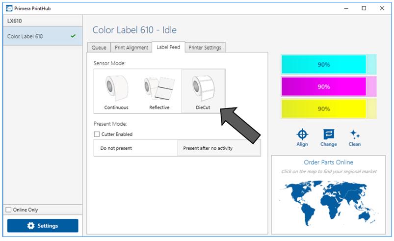 impostazione etichette stampanti Primera