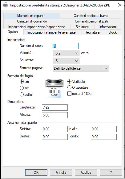 impostazioni parametri stampanti Zebra