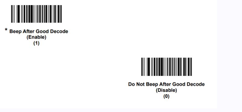 configurazione del suono dei lettori di codici a barre