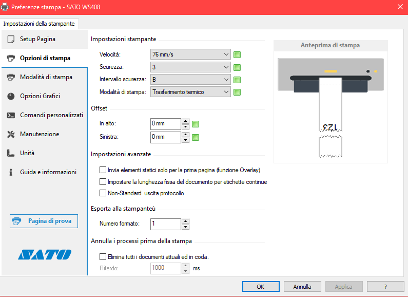 impostazione driver sato ws4 per stampare a modulo ocntinuo