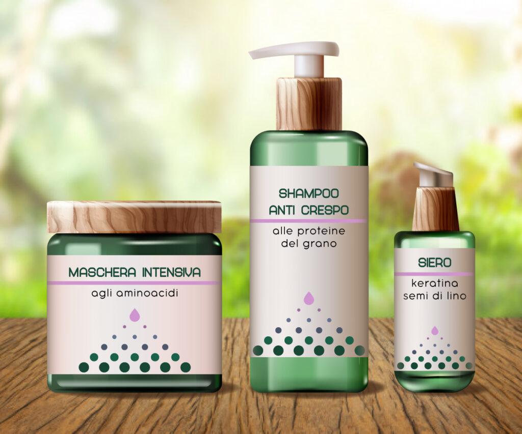 design di etichette - linea cosmetici per capelli